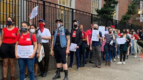 The unions of The New Yorker, Ars Technica and Pitchfork held a rally on June 8, 2021 to protest slow-going contract negotiations with Condé Nast management.