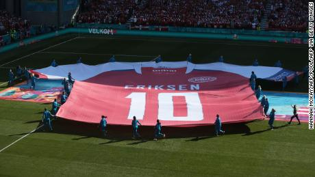 A giant jersey of Denmark midfielder Kristian Eriksson was displayed on Thursday.