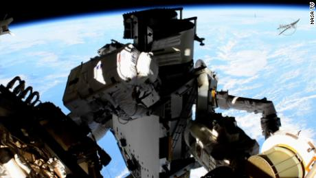 The spacewalk lasted for just under six and a half hours on Sunday.
