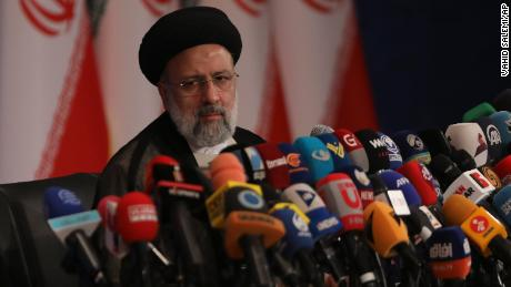 Iran's new President-elect Ebrahim Raisi speaks during a news conference in Tehran, Iran, on Monday.