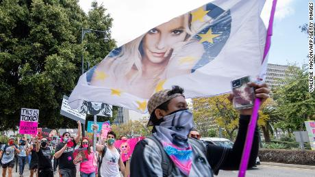 Spears fans rally outside a conservatorship hearing in Los Angeles in April.