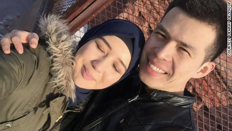 Mezensof and her husband in November 2016 in Urumqi, five months before he was detained.