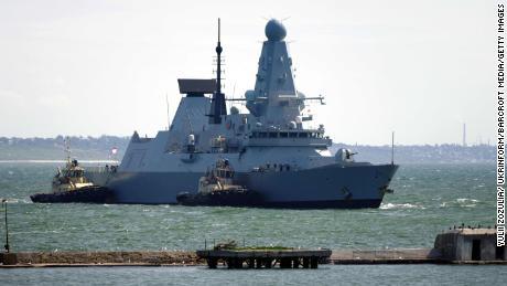 HMS Defender arrives at the port of Odessa, southern Ukraine.