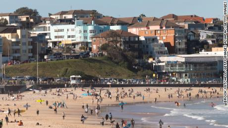 People visit Bondi Beach in Sydney, Australia, during a city-wide lockdown on Sunday.