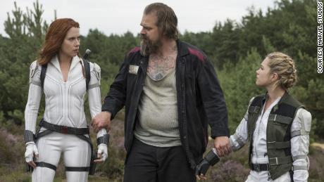 Scarlett Johansson, David Harbor and Florence Pugh in Marvel's 'Black Widow'.