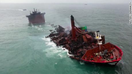 The X-Press Pearl caught fire on May 20 and burnt for 13 days before sinking.