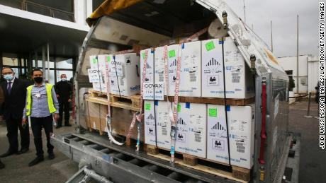 The COVAX vaccines are pictured arriving in Tunisia.