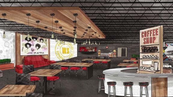 Concept art for West Social food hall, a facility set to open in Dayton, Ohio later this year.