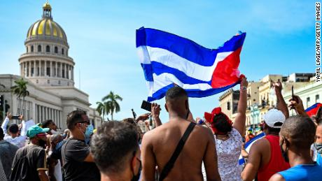 Cubans gather outside the Capitol to demonstrate against the government of President Miguel Diaz-Canel on July 11.