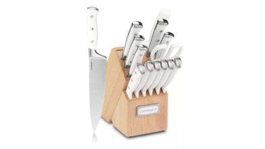 Cuisinart Classic Stainless Steel White Triple Rivet Cutlery Block Set