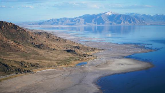 The Great Salt Lake recedes in May from Antelope Island near Salt Lake City.