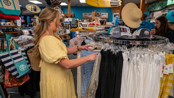 A woman shops for clothing on Cape Cod, Massachusetts.