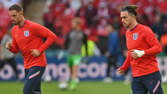 England midfielders Jordan Henderson (left) and Jack Grealish (right) were two members of the squad who insisted it was important for the team to take the knee.