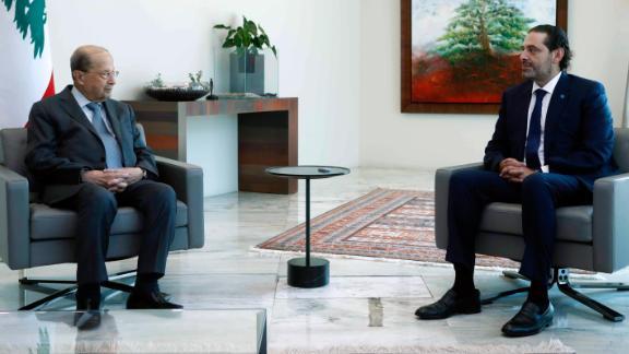 Michel Aoun, left, meets with Saad Hariri at the presidential palace, in Baabda.