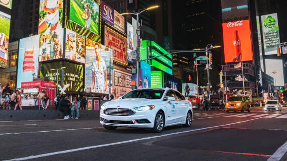 A self-driving vehicle from Mobileye's autonomous test fleet navigates New York City's Times Square in June 2021.