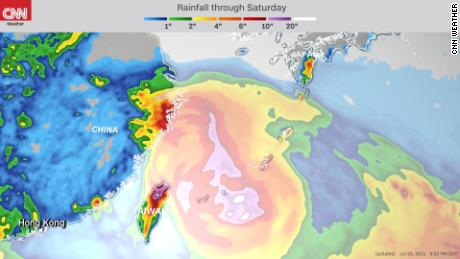 Forecast rainfall through Saturday from Typhoon In-Fa.