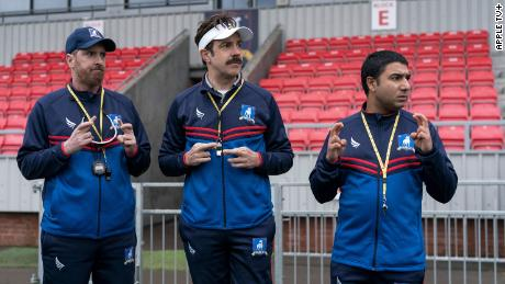 """Brendan Hunt, Jason Sudeikis and Nick Mohammed in """"Ted Lasso."""""""