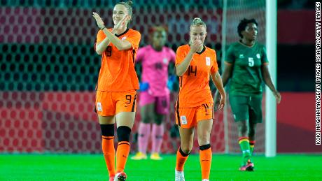 Vivian Miedema celebrates after scoring the third goal of the game.