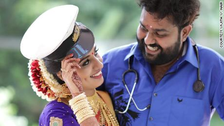 Vismaya Nair with her brother, Vijith Nair.