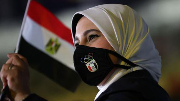 A member of Egypt's delegation enters the stadium during the parade of nations.