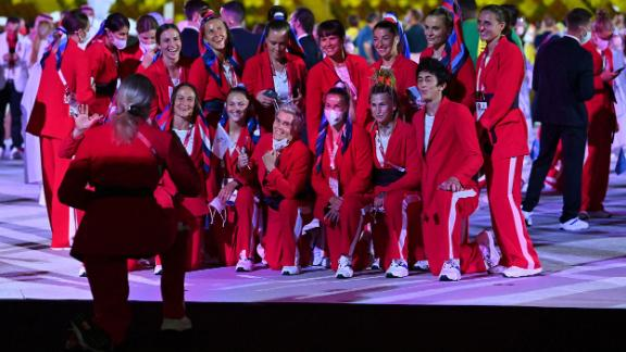 Russian athletes pose for a photo during the opening ceremony.