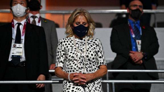Jill Biden, the first lady of the United States, takes part in a moment of silence during the opening ceremony.