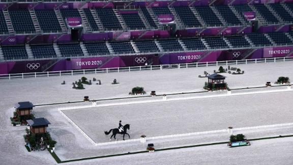 US equestrian Adrienne Lyle rides Salvino in the dressage competition on July 25.