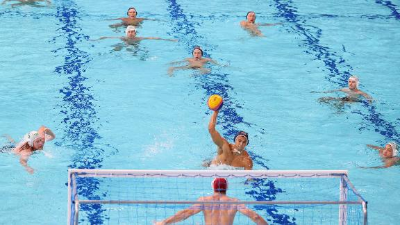 US water polo player Johnny Hooper takes a shot during the team's 20-3 win over South Africa on July 27.