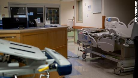 Empty beds sit in the hallway of a decommissioned Covid-19 unit at Northwestern Medical Center in St. Albans, Vermont. It would take about half a day to get the unit back up and running in the event of another outbreak.