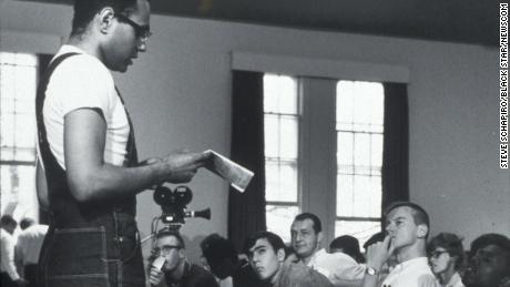 Bob Moses in 1964, speaking to civil rights workers during training for the Mississippi Project, an effort to register black voters.