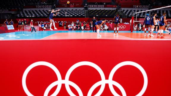 Italy's Cristina Chirichella serves the ball during a match against Argentina on July 29.