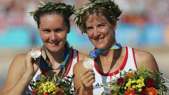 Cath Bishop (left) and Katherine Grainger celebrate winning silver at the Athens Olympics in 2004.