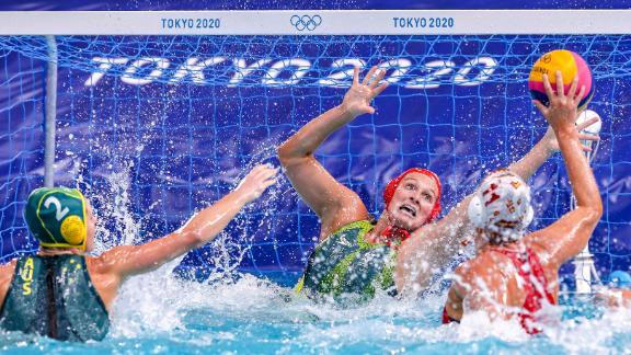 Lea Yanitsas, a goalkeeper for Australia's water polo team, tries to block a shot during a match against Spain on July 30.