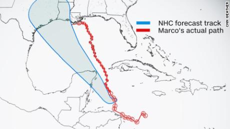 Five-day forecast cone of Hurricane Marco overlaid with the actual storm track