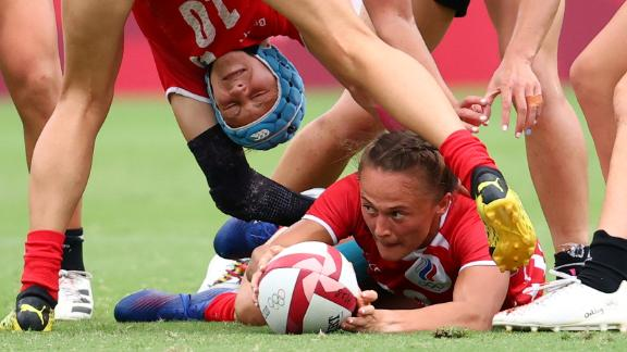 Russian rugby player Anna Baranchuk reaches for the ball during a match against New Zealand on July 30.