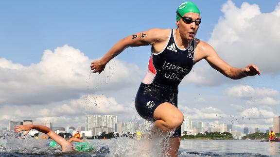 Great Britain's Jessica Learmonth competes in the mixed relay triathlon on July 31. Great Britain won gold in the event, which was the first of its kind in Olympics history.
