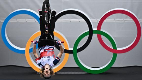 Great Britain's Charlotte Worthington competes in the cycling BMX freestyle  seeding event on July 31.