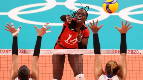 Kenya's Mercy Moim attacks against the Dominican Republic during a preliminary match on July 31.