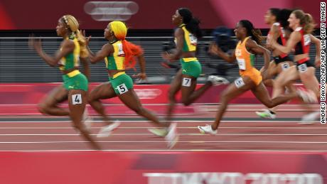 In the women's 100 meters final, Thompson-Hera, Fraser-Price, and Jackson were eliminated.