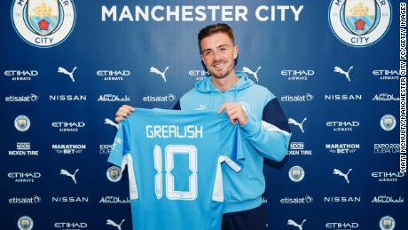 Manchester City unveil new signing Jack Grealish.