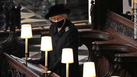 The Queen sat alone during the Philip's funeral service in April as contact between households was forbidden at the time.