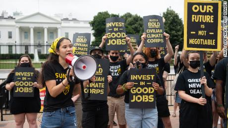 The Sunrise Movement protests in front of the White House in June against what they say is slow action on climate change.