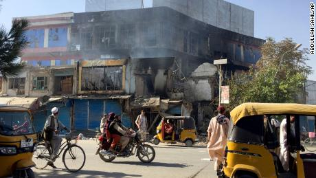Shops damaged after fighting between Taliban and Afghan security forces in Kunduz, northern Afghanistan, on Aug. 8, 2021.