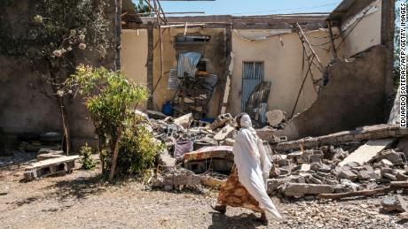 A house damaged in fighting in the Tigrayan city of Wukro, as Ethiopian government-aligned forces entered in March.