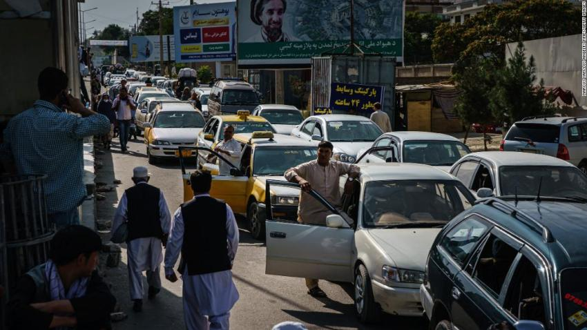 A traffic jam is seen in Kabul on August 15 as some Afghans were looking to flee the city.
