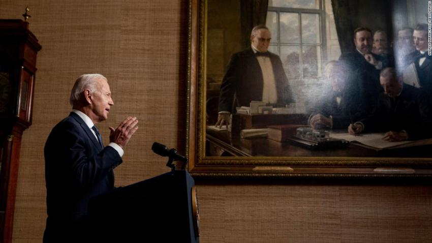 """US President Joe Biden, speaking from the White House Treaty Room on April 14, <a href=""""https://www.cnn.com/2021/04/14/middleeast/gallery/afghanistan-war/index.html"""" target=""""_blank"""">formally announces his decision to withdraw American troops from Afghanistan</a> before September 11. """"I am now the fourth American president to preside over an American troop presence in Afghanistan. Two Republicans. Two Democrats,"""" Biden said. """"I will not pass this responsibility to a fifth."""""""