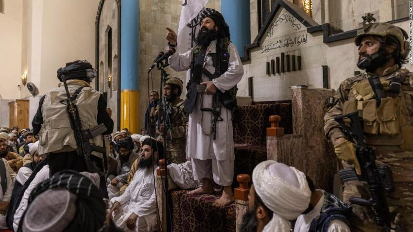 Khalil Haqqani, a leader of the Taliban-affiliated Haqqani network and a US-designated terrorist, delivers remarks after Friday prayers at the Pul-e Khishti Mosque in Kabul on August 20. It was the first Friday prayers since the Taliban took control of Afghanistan.