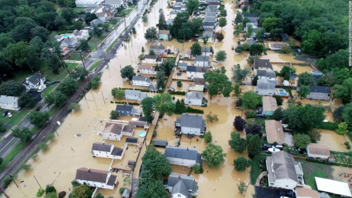 Streets in Helmetta, New Jersey, are flooded on Sunday, August 22.