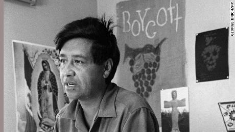 Cesar Chavez speaks from a Delano, California, union office amid a 1965 grape strike.