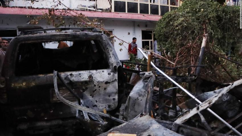 """A damaged car is seen in Kabul after <a href=""""https://www.cnn.com/2021/08/29/asia/afghanistan-kabul-evacuation-intl/index.html"""" target=""""_blank"""">a US drone strike</a> reportedly targeted a suspected ISIS-K suicide bomber on August 29. US officials believe ISIS-K, the ISIS branch that rivals the Taliban in Afghanistan, was likely behind <a href=""""http://www.cnn.com/2021/08/26/middleeast/gallery/kabul-deadly-blasts-afghanistan-airport/index.html"""" target=""""_blank"""">the August 26 bomb attack</a> that killed <a href=""""https://www.cnn.com/2021/08/27/us/kabul-attack-us-service-members-killed/index.html"""" target=""""_blank"""">13 US service members</a> and at least 170 others."""